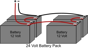 Electric scooter battery pack series/parallel wiring.