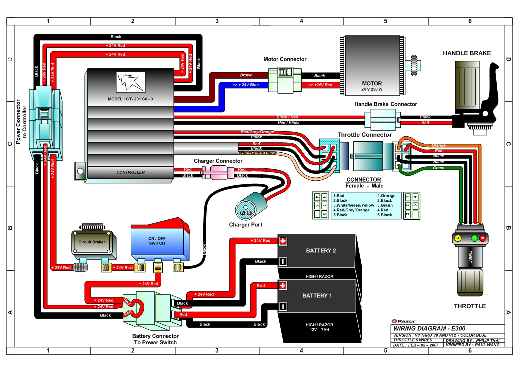 razor e300 wiring diagram v12 razor e300 and e300s electric scooter parts electricscooterparts electric scooter wiring diagram at fashall.co