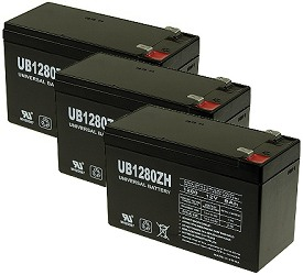 set of three 12 volt 8 ah batteries for the quazar® electric scooter   replaces and upgrades the original 7 ah batteries  12 month battery  replacement