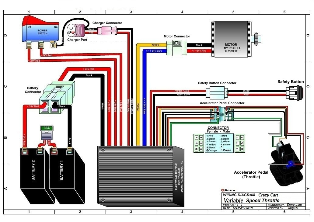 razor crazy cart wiring diagram v1 2 razor crazy cart parts electricscooterparts com razor crazy cart wiring diagram at gsmx.co