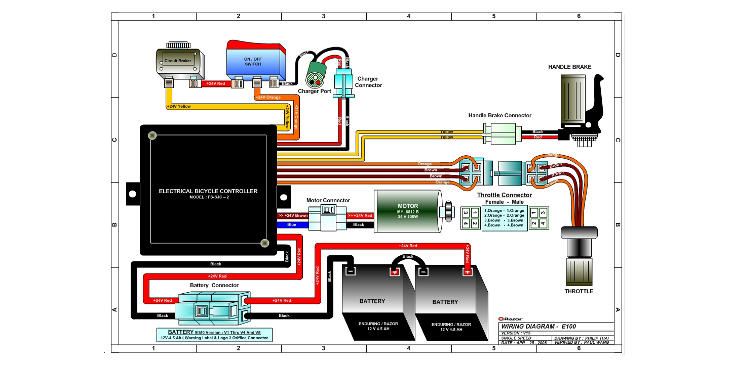 Razor E100 and E125 Wiring Diagram Version 15