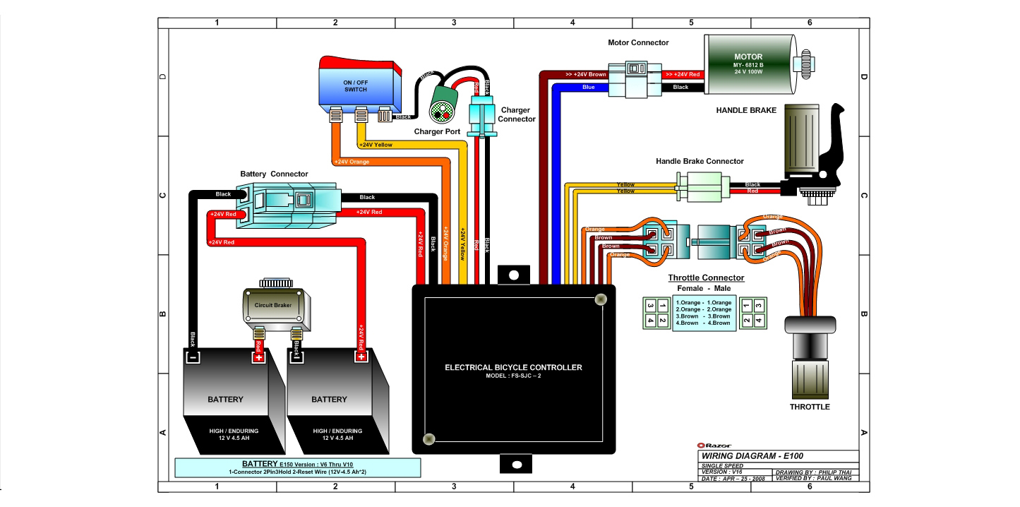 wiring diagram for a e100 razor scooter wiring diagramrazor e100 and e125 electric scooter parts electricscooterparts comrazor e100 and e125 wiring diagram version 16