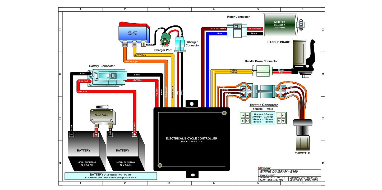 Razor E125 Wiring Diagram Version 17-21