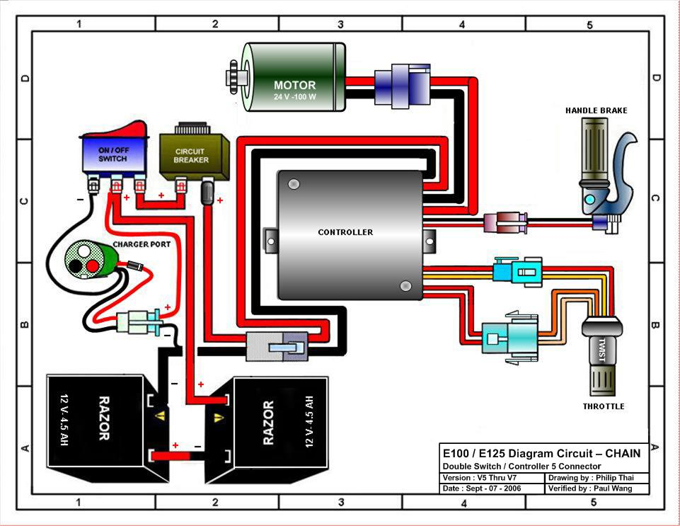 razor e100 electric scooter parts - electricscooterparts.com 24 volt scooter battery wiring diagram #2
