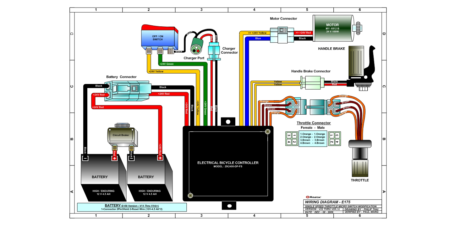 Razor Electric Scooter Wiring Diagram Mini Chopper Electrical Circuit E100 Schematic E200 Portal