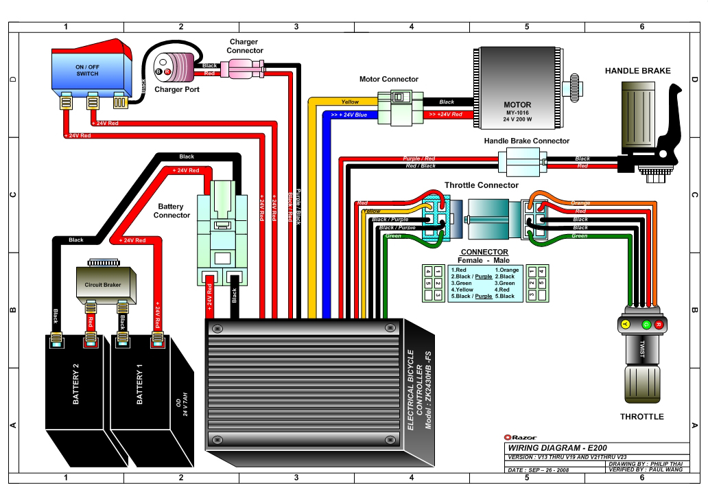 razor e200 and e200s electric scooter parts wheelchair wiring schematic electric scooter wiring schematic #5