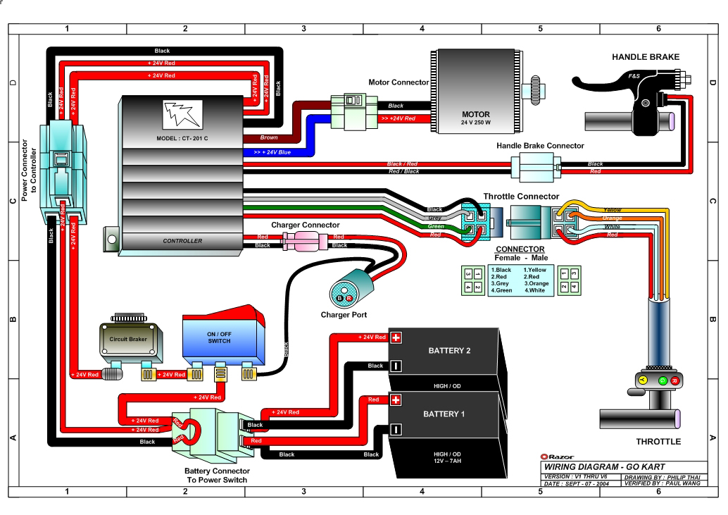 razor ground force go kart wiring diagram v1 6 razor ground force electric go kart parts electricscooterparts com razor go kart wiring diagram at soozxer.org